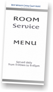 Room service Menu at Cresta Court Hotel 2019
