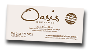 Oasis Beauty Salon Altrincham Manchester Price list