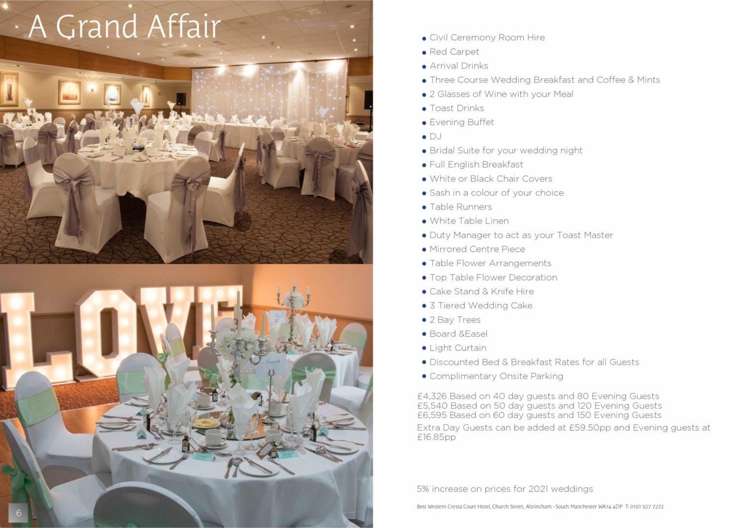 Best Wester Cresta Court Hotel Wedding venues in Manchester and Cheshire